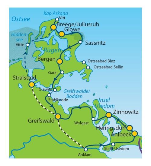 Ostseeradweg Karte.Ostseeradweg Ab Stralsund Rügen Hiddensee Und Usedom 7