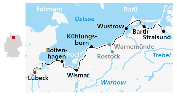 Ostseeradweg Lübeck Stralsund Karte.Ostseeradweg Von Lübeck Bis Stralsund 7 übernachtungen Buchen