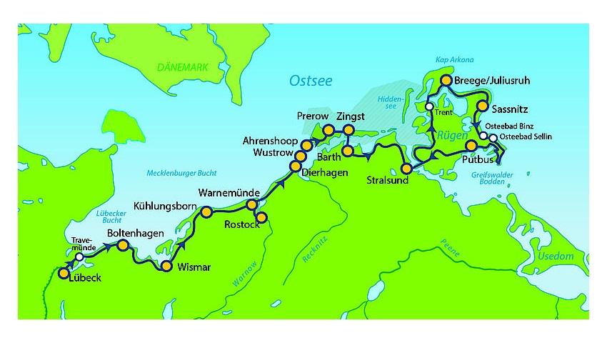 Ostseeradweg Lübeck Stralsund Karte.Ostseeradweg Von Lübeck Nach Stralsund 11 übernachtungen Mit
