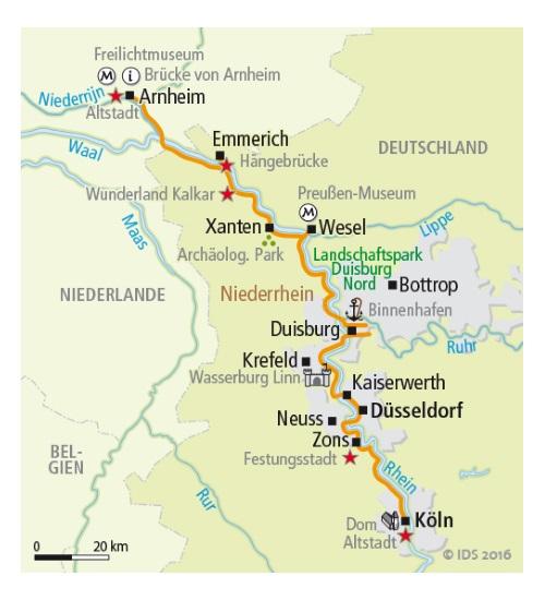 Köln Karte Deutschland.Rheinradweg Von Köln Bis Arnheim 6 übernachtungen Buchen