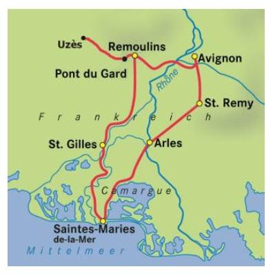 Camargue Karte.Provence Und Camargue Radrundreise Ab Avignon 7 übernachtungen Buchen