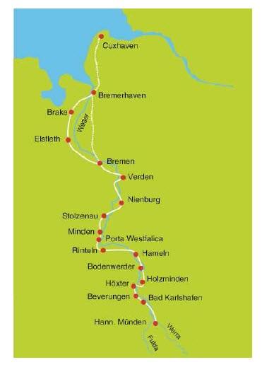 Weser Radweg Karte.Weserradweg Von Hann Münden Nach Bremen 7 übernachtungen Buchen
