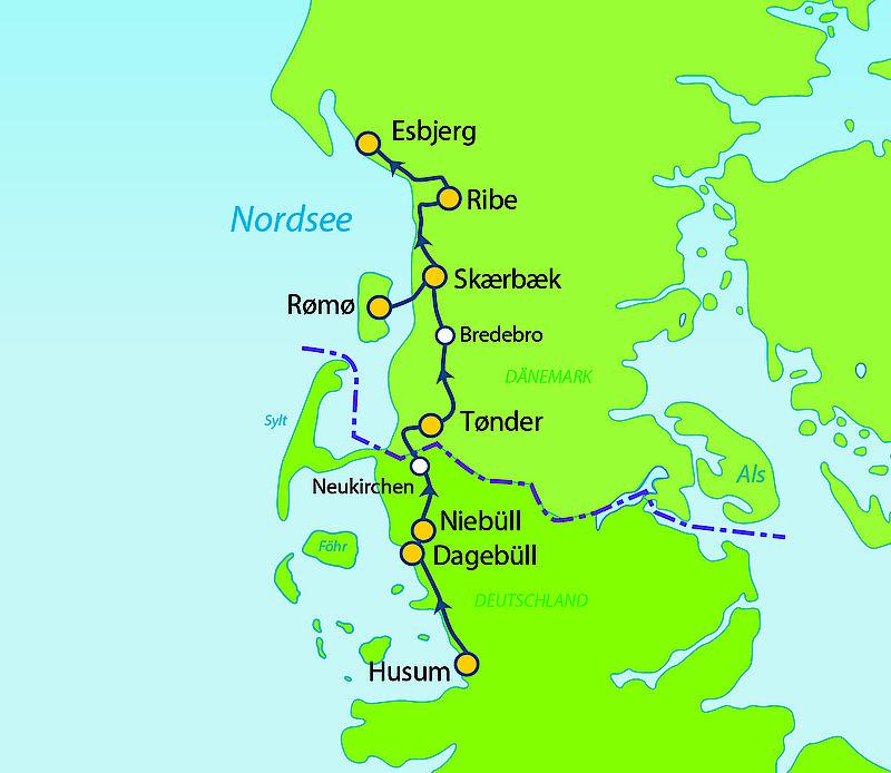 Dänemark Nordseeküste Karte.Deutsch Dänischer Nordseeküstenradweg Von Husum Bis Esbjerg 6