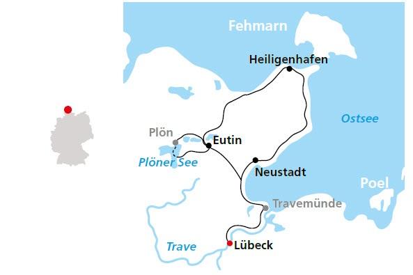 Holsteinische Schweiz Karte.Holsteinische Schweiz Radrundtour Ab Lübeck über Heiligenhafen Und