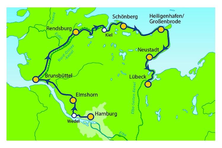 Karte Norddeutschland Ostseekuste.Elbe Nordsee Und Ostsee Radtour Von Hamburg Uber