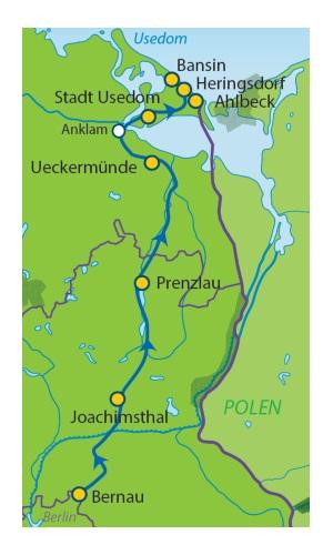 Radweg Berlin Usedom Karte.Radtour Von Berlin Nach Usedom 6 übernachtungen über Prenzlau Buchen