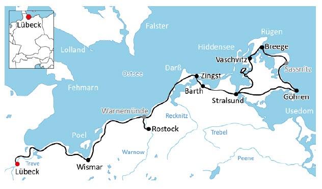 Ostseeradweg Lübeck Stralsund Karte.Ostseeradweg Von Lübeck Bis Stralsund 8 übernachtungen Mit