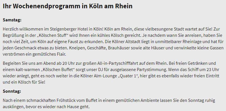(C) Beispielhaft mit Programm und Logie im Steigenberger Hotel Köln