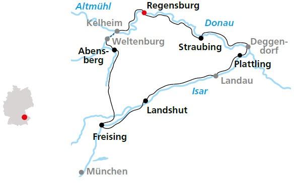 Isar Fluss Karte.Bayerische Radrundtour An Donau Und Isar Ab Regensburg über