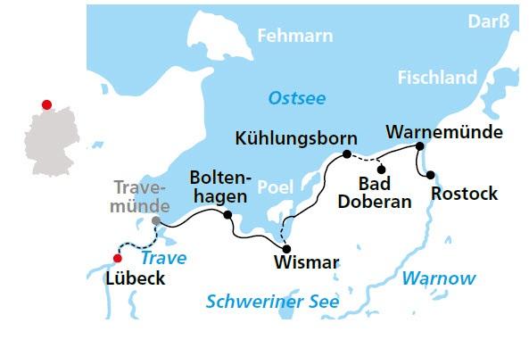 Ostseeradweg Lübeck Stralsund Karte.Ostseeradweg Von Lübeck Bis Rostock 6 übernachtungen Buchen