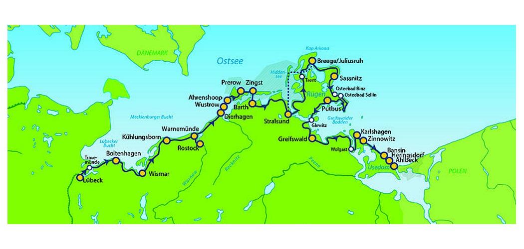 Ostseeradweg Lübeck Stralsund Karte.Ostseeradweg Von Lübeck Bis Usedom Mit Rundtour Auf Rügen 13
