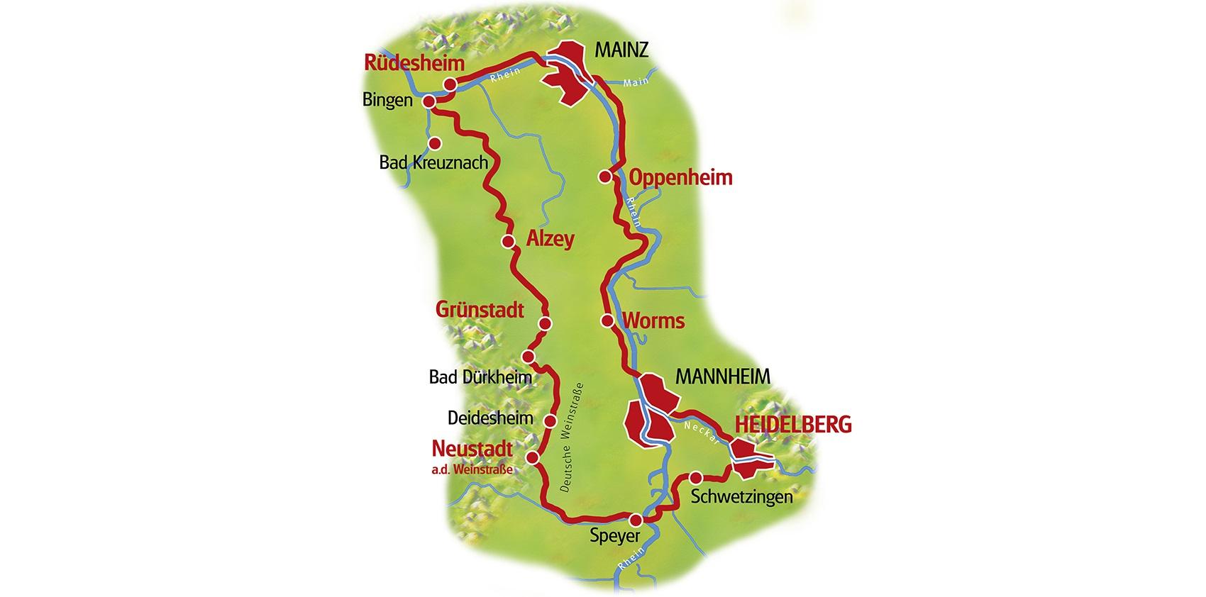 Neckarradweg Karte.Rhein Rad Rundtour Entlang Der Dom Städte Mainz Und Worms Ab Worms