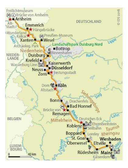 Mittelrheintal Karte.Rheinradweg Von Mainz Bis Arnheim 10 Ubernachtungen Buchen