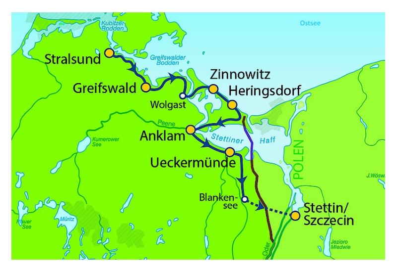 Ostseeradweg Lübeck Stralsund Karte.Ostseeradweg Von Stralsund Bis Stettin 7 übernachtungen Buchen