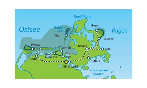 Ostsee Karte Rügen.Ostsee Sternwandertour Ab Stralsund über Rügen Hiddensee Und