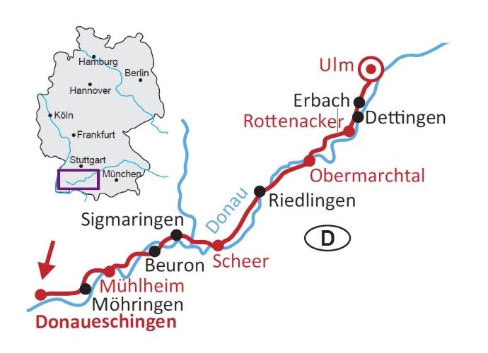 Donauradweg Ulm Passau Karte.Donauradweg Von Donaueschingen Bis Ulm 5 Ubernachtungen Buchen