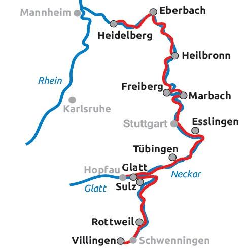 Neckarradweg Karte.Neckarradweg Von Villingen Bis Heidelberg 9 übernachtungen Buchen