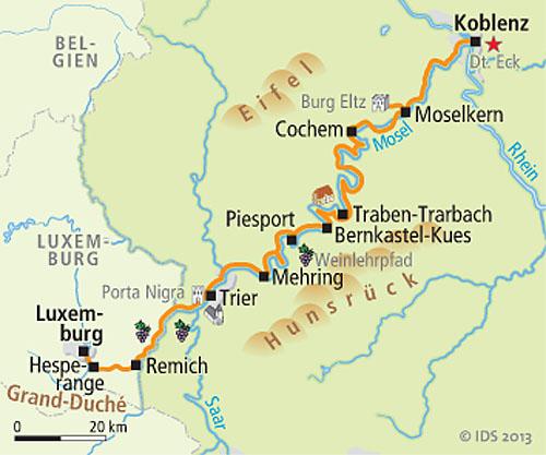 Mosel Karte Mit Allen Orten.Moselradweg Von Luxemburg Bis Koblenz 7 übernachtungen Buchen