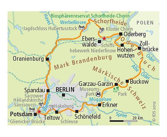 Berlin Potsdam Karte.Radrundreise Um Berlin Ab Potsdam 7 übernachtungen Havel Oder