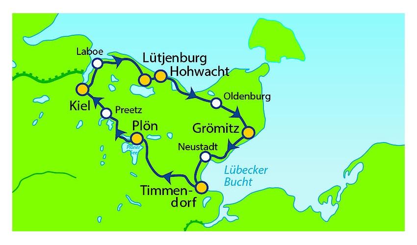 Holsteinische Schweiz Karte.Holsteinische Schweiz Radrundtour An Der Ostsee Ab Kiel 6