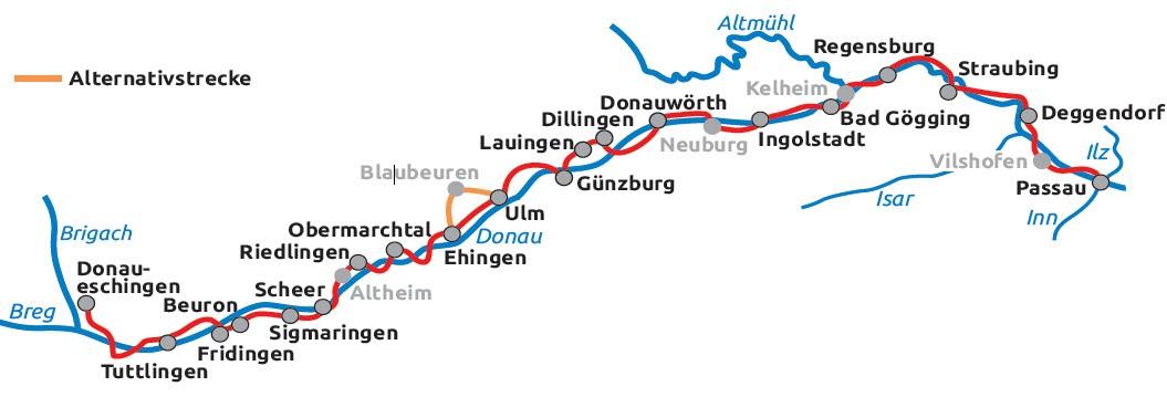 Donauradweg Ulm Passau Karte.Donauradweg Von Donaueschingen Nach Donauworth 7