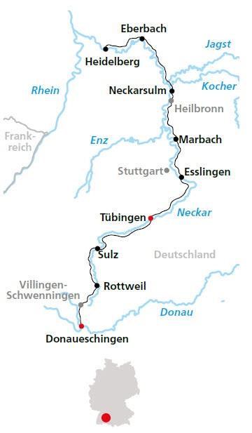 Neckarradweg Karte.Neckarradweg Von Donaueschingen Bis Heidelberg 9 übernachtungen Buchen