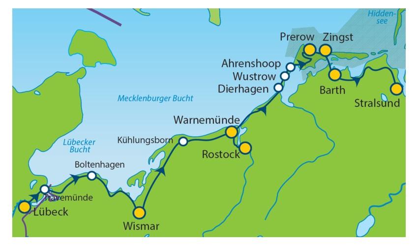 Ostseeradweg Lübeck Stralsund Karte.Ostseeradweg Von Lübeck Nach Stralsund 5 übernachtungen Sportlich