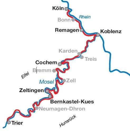 Mosel Karte Mit Allen Orten.Mosel Und Rheinradweg Von Trier Bis Köln 6 übernachtungen Mit