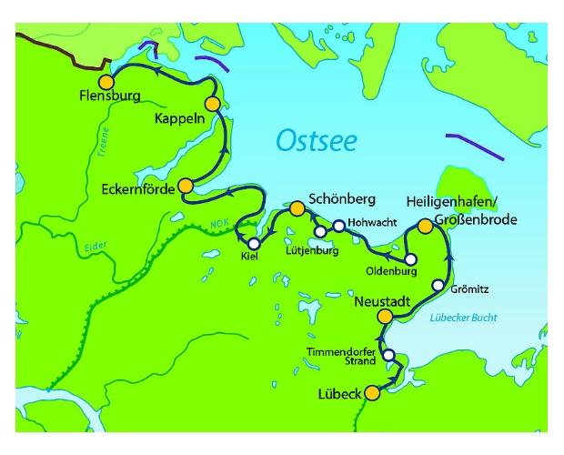 Kiel radweg nach von lübeck Radreisen an
